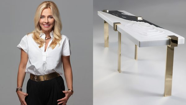 Stephanie Coutas - French interior designer - bench in solid marble - polished brass - Signatures Singulières Magazine - The digital magazine of French talent