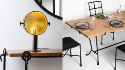 Galerie édition Limitée - French Decorative Arts - Table and chairs in hammered iron - Solid oak top - hammered wrought iron lamp - designer Vincent collin - French designer - Signatures Singulières Magazine - The digital magazine of French talent