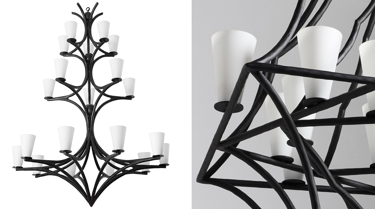 Gallery Édition Limitée - French Decorative Arts - black hammered wrought-iron chandelier - white opal glass shades - designer Vincent collin - French designer - Signatures Singulières Magazine - The digital magazine of French talent