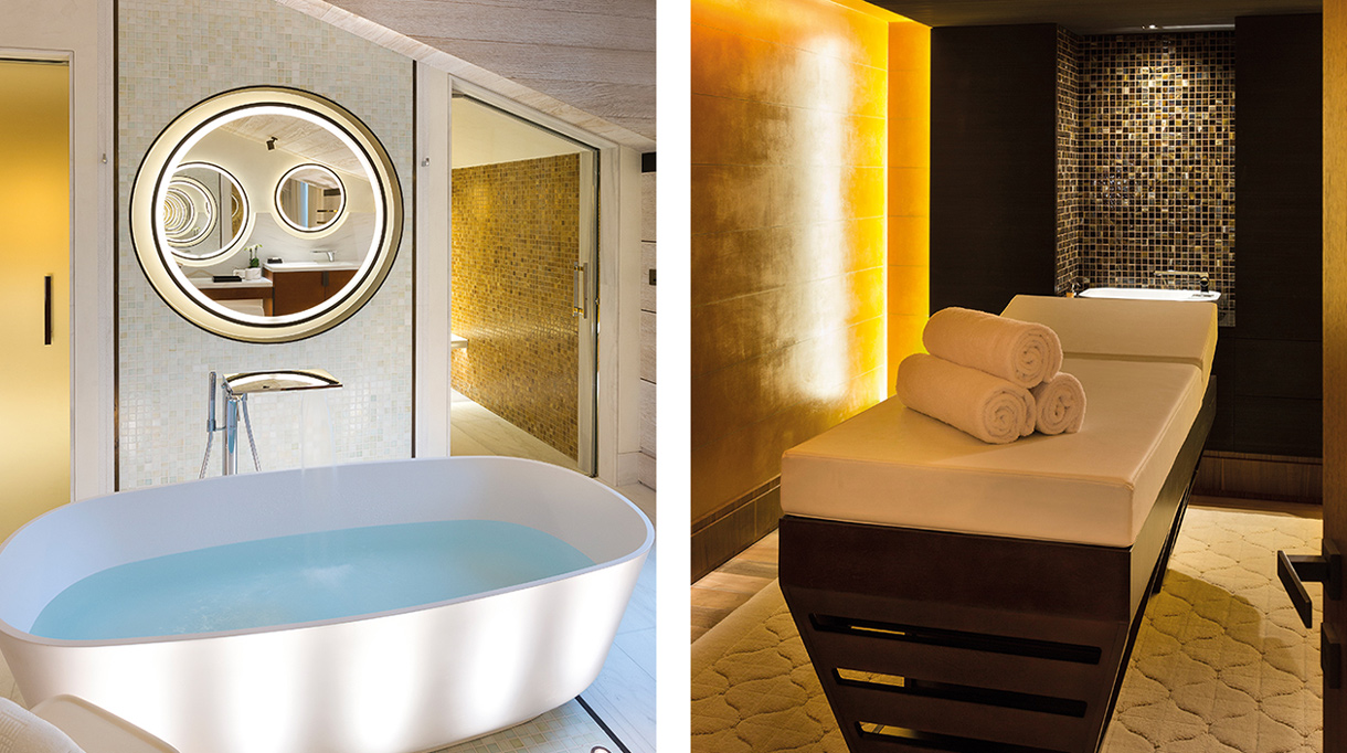Sybille de Margerie - French interior designer - Chalet A, located in Courchevel 1850 - contemporary chalet - contemporary bathroom - white bathtub - massage table - Signatures Singulières magazine - The digital magazine of French talent