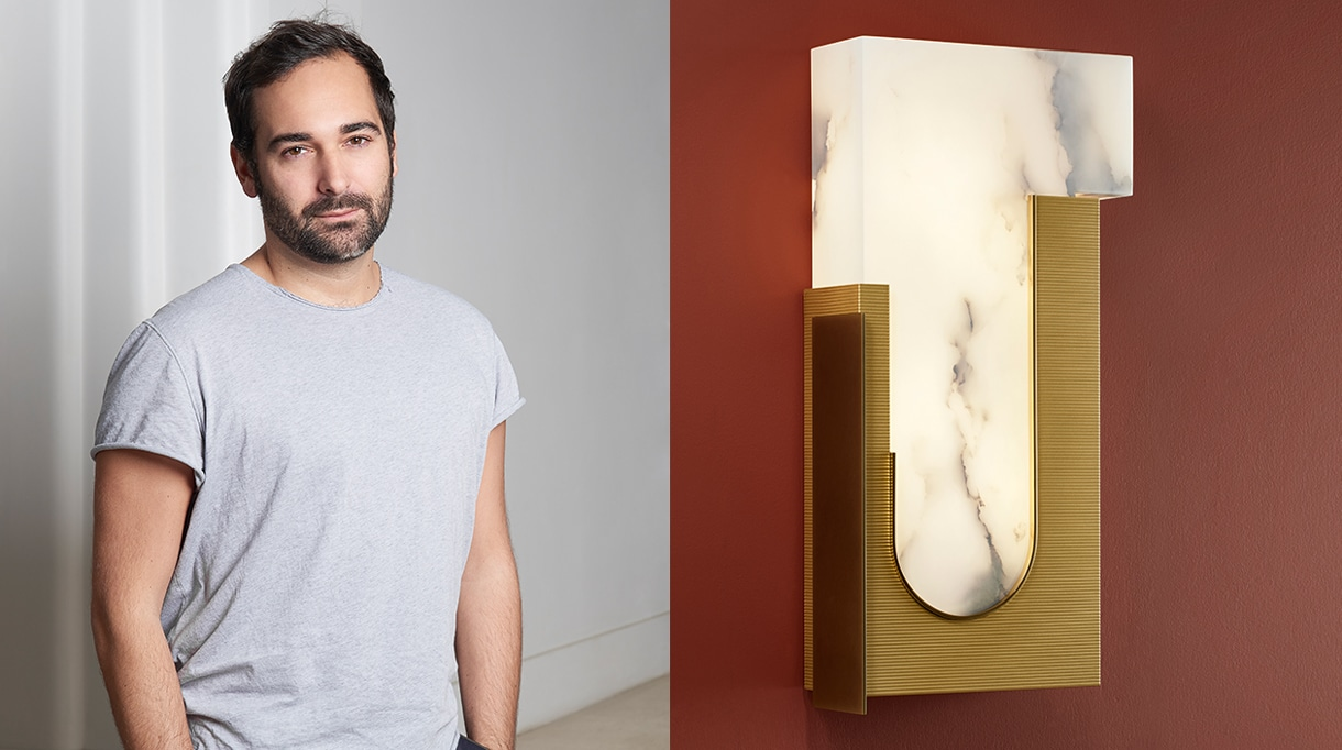 """Rodolphe Parente - French interior designer - Pouenat - art metalworker in Paris - alabaster and brass """"Dude"""" wall sconce - Signatures Singulières - The digital magazine of French talent"""