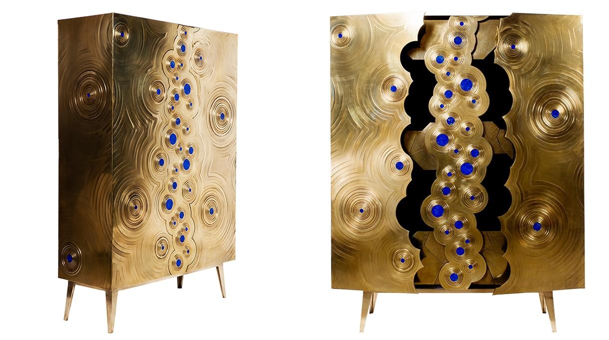 erwan boulloud - french designer and sculptor - sculpture furniture - Oak and brass cabinet, inlayed with lapis-lazuli - label EPV (Entreprise du Patrimoine Vivant) - signatures singulières - le magazine digital des talents français
