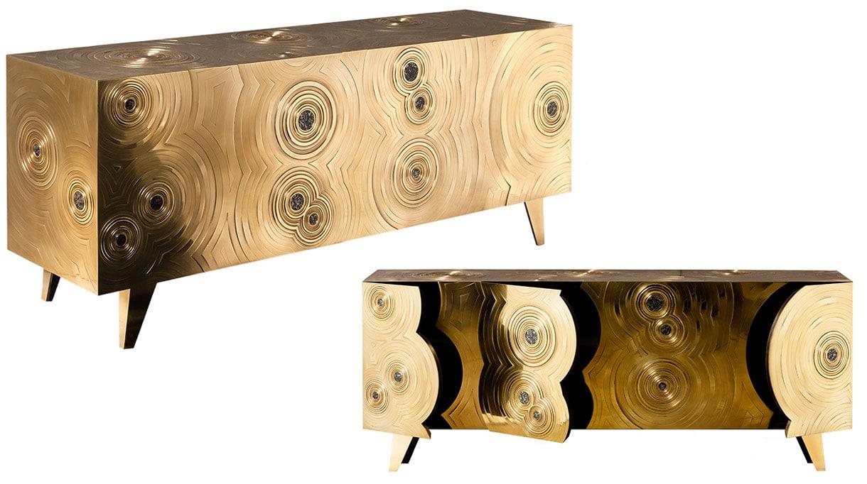 erwan boulloud - french designer and sculptor - sculpture furniture - sideboard, brass inlayed with jade-pyrite - label EPV (Entreprise du Patrimoine Vivant) - signatures singulières - le magazine digital des talents français
