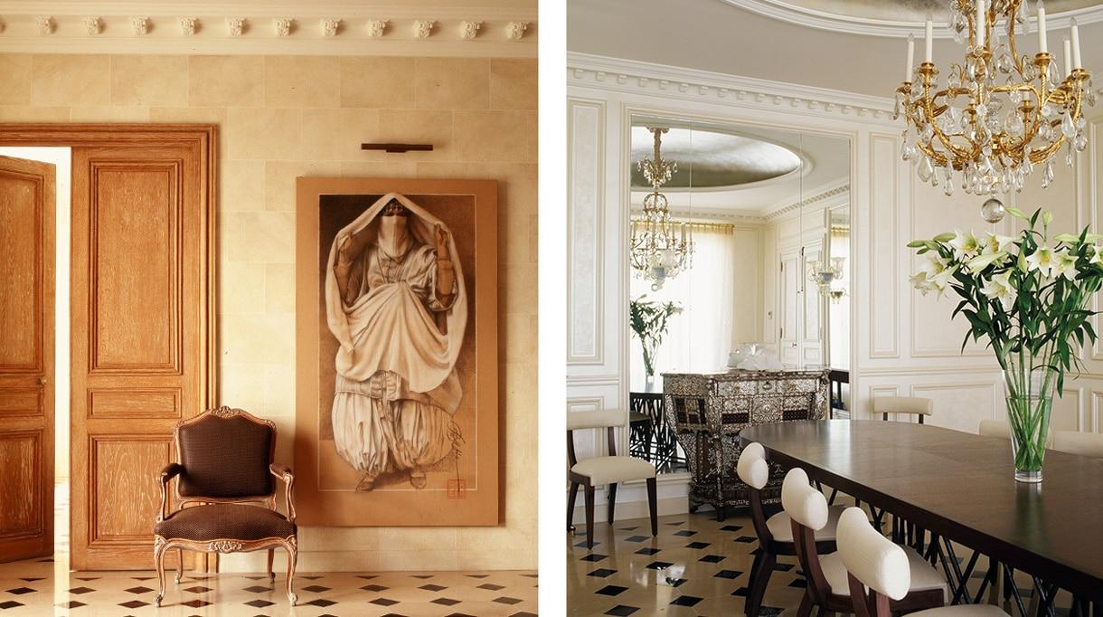 Nicolas Aubagnac - French interior designer - French designer - Dining room - cabochon tile - parisian apartment - wood panelling - Signatures Singulières Magazine - The digital magazine of French talent