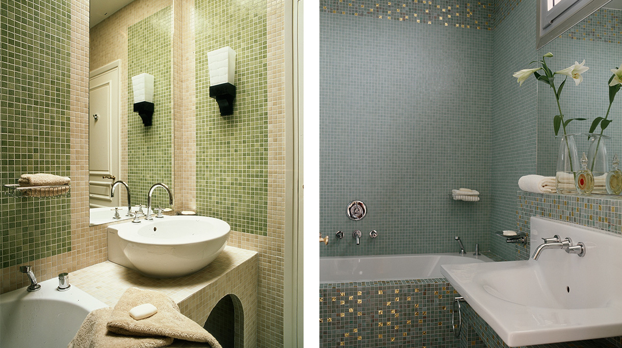 Nicolas Aubagnac - French interior designer - French designer - blue mosaic in bathroom - green mosaic of Murano - mosaic bathroom - parisian apartment - Signatures Singulières Magazine - The digital magazine of French talent