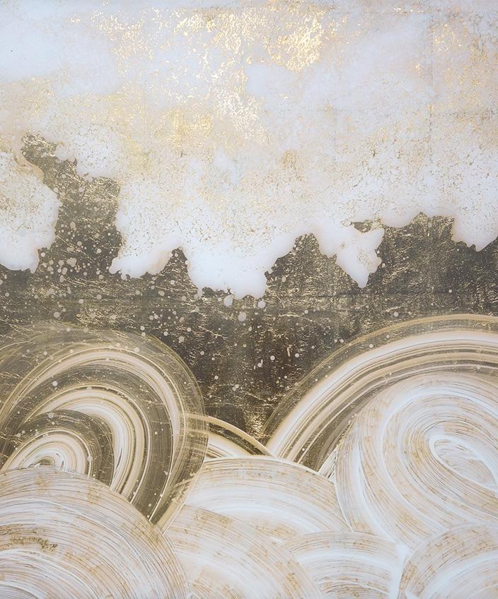 Solène Eloy - Decorative painter - French artist - wall decor - fresco artist - Atelier du Mur Agency - Verre églomisé and gold leaf - Signatures Singulières Magazine - The digital magazine of French talent