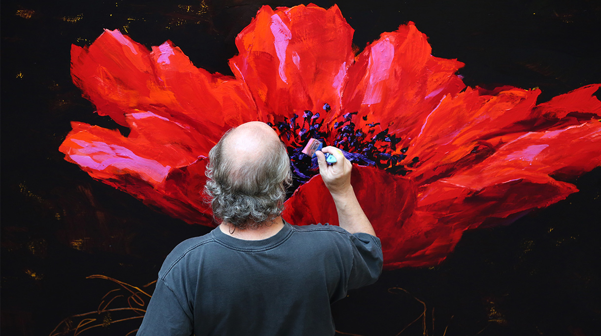 Charles Belle - French painter artist - Charles Belle in his workshop - Editions Souces - Art book Signatures Singulières - Red flower - The digital magazine of French talent