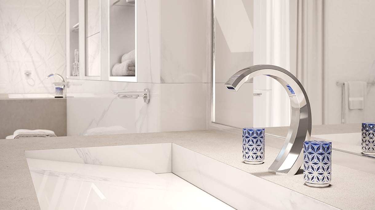 "THG and Haviland - French Excellencies - nihal tap collection - luxury bathroom - Limoges porcelain - marble bathroom - Entreprise du patrimoine vivant"" label - Signatures Singulières - The digital magazine of French talent"