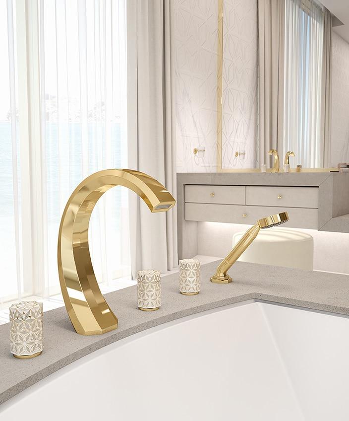 "THG and Haviland - French Excellencies - nihal tap collection - luxury bathroom - Limoges porcelain - marble bathroom - golden tap - Entreprise du patrimoine vivant"" label - Signatures Singulières - The digital magazine of French talent"