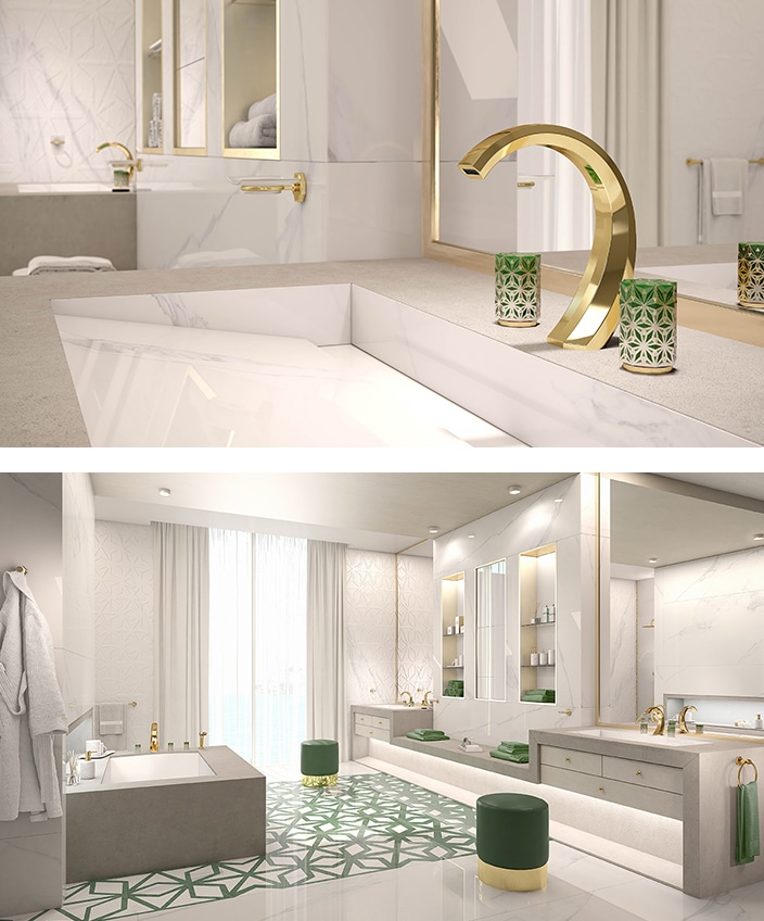 THG and Haviland - French Excellencies - nihal tap collection - luxury bathroom - Limoges porcelain - marble bathroom - golden tap - green tap - green tile - Signatures Singulières - The digital magazine of French talent
