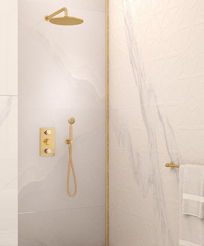 THG and Haviland - French Excellencies - nihal tap collection - luxury bathroom - Limoges porcelain - marble bathroom - golden tap - golden showerhead - Signatures Singulières - The digital magazine of French talent