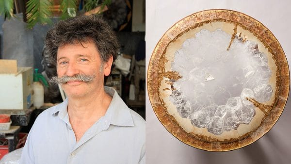 Hervé Obligi - sculptor and stone maker - Table in rock crystal and gold leaf marquetry - French know-how - Signatures Singulières Magazine - The digital magazine of French talent