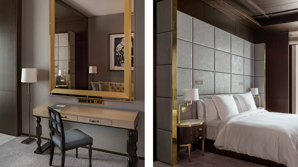 Bruno Moinard - Agence 4Bi - Claire Bétaille - French interior designer - Four Seasons Hotel of London - 5 star hotel - Deluxe suite of london - padded leather headboard - Signatures Singulières Magazine - The digital magazine of French talent