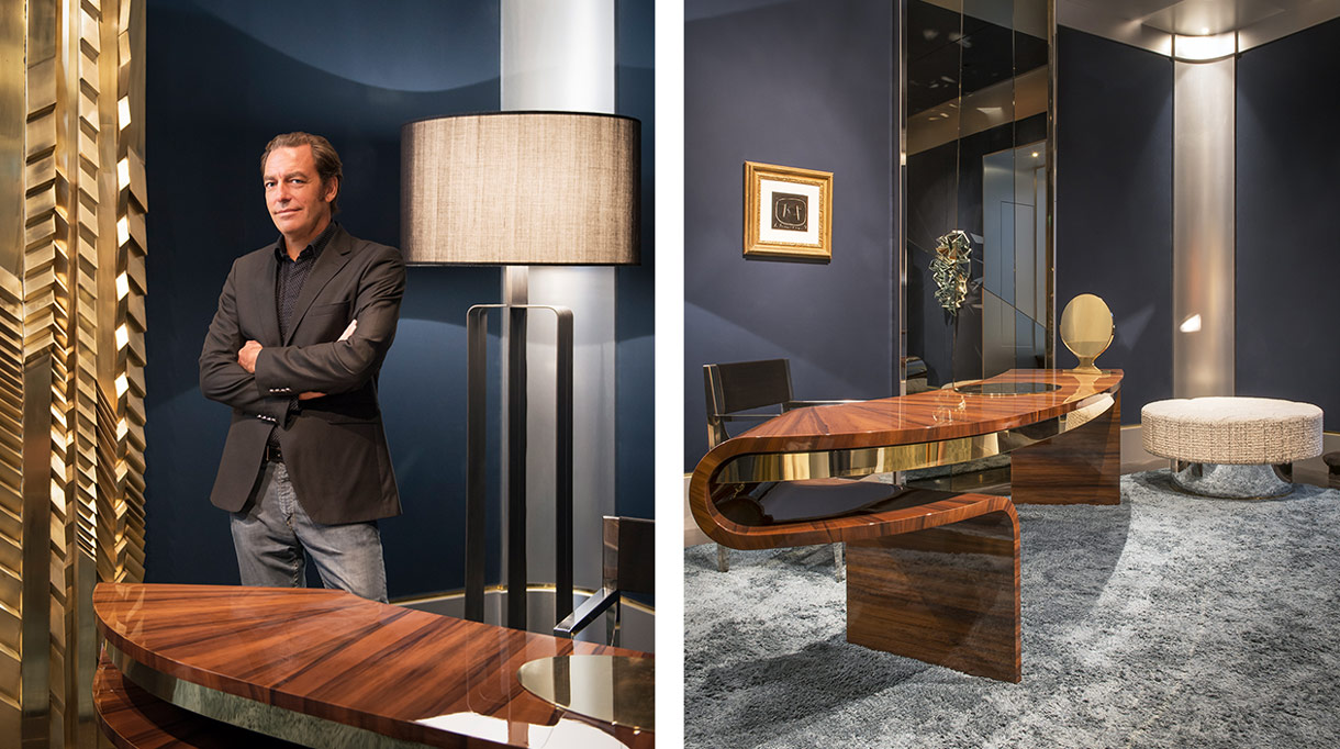 Thierry Lemaire - French interior designer - Blue wall - Bronze floor lamp - Desk in fraké glossy varnished - Signatures Singulières - Magazine of French know-how - French know-how
