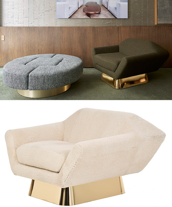 Thierry Lemaire - French interior designer - Sheepskin armchair - Green armchair - M Mottled grey footstool - White armchair - Polished brass armchair base - Signatures Singulières - Magazine of French know-how - French know-how