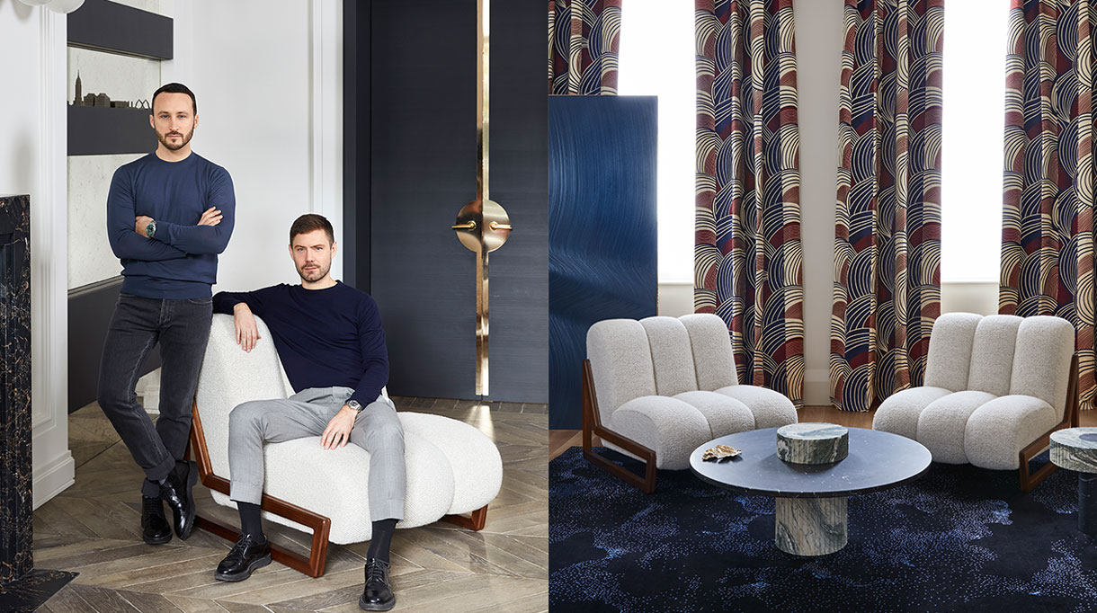 humbert & poyet - french interior designer - humbert & poyet furniture - Tabletop in Nero Marquinia marble - Base in Verde Luana Marble - Armchair in walnut - bleu folding screen - Wall lamp in polished brass - bleu carpet - Signatures Singulières Magazine - The digital magazine of French talent