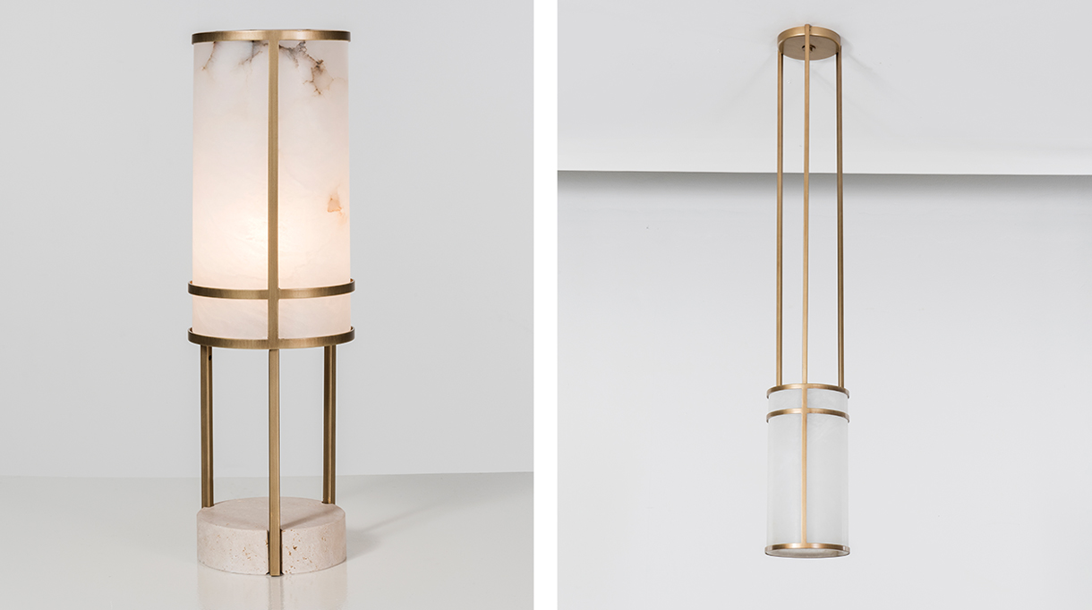 humbert & poyet - french interior designer - humbert & poyet furniture - table lamp in brass, travertine and alabaster - ceiling lamp in brass and alabaster - Signatures Singulières Magazine - The digital magazine of French talent