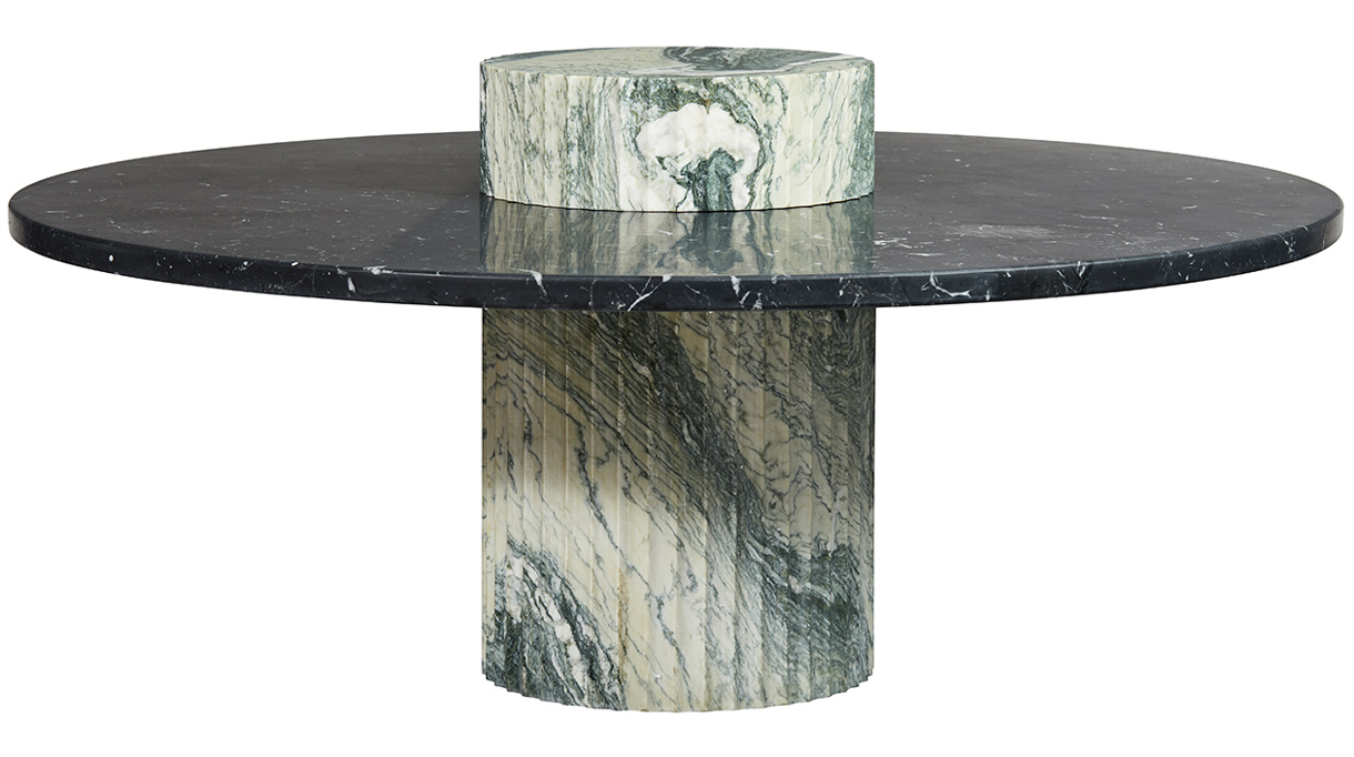 humbert & poyet - french interior designer - humbert & poyet furniture - coffee table in Nero Marquinia marble. Base in Verde Luana Marble - Signatures Singulières Magazine - The digital magazine of French talent