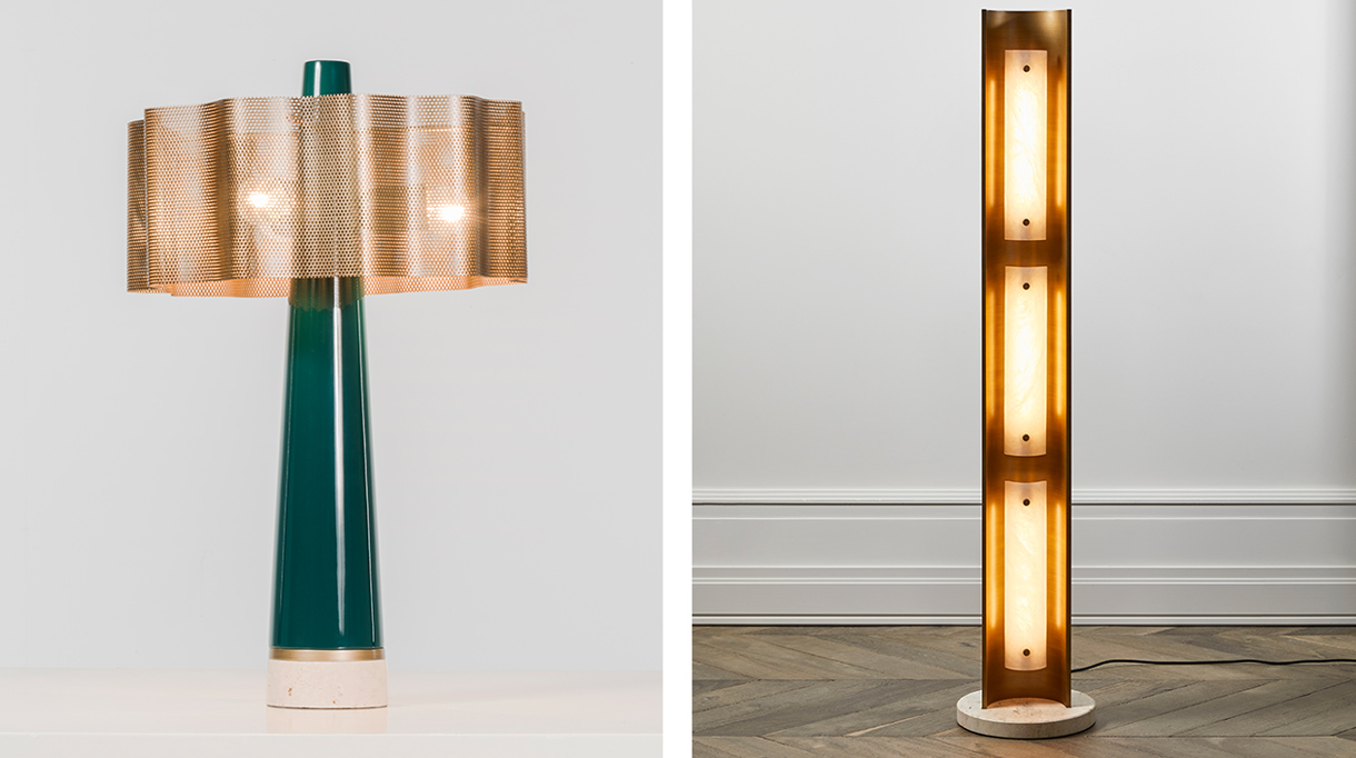humbert & poyet - french interior designer - humbert & poyet furniture - table lamp in lacquered walnut, travertine and brass - floor lamp in brass, travertine and alabaster - lacquered green- Signatures Singulières Magazine - The digital magazine of French talent