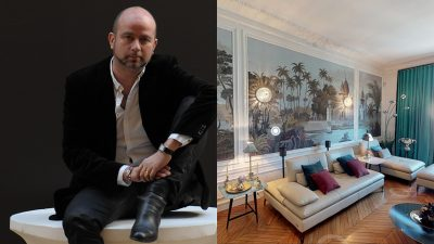 Nicolas Trousselle - French interior designer - Exceptional apartment in Paris - Roche Bobois leather sofa - immersive visit of a Haussmann parisian apartment - panoramic wallpaper - Ananbô wallpaper - Leather sofa - Signatures Singulières Magazine - The digital magazine of French talent