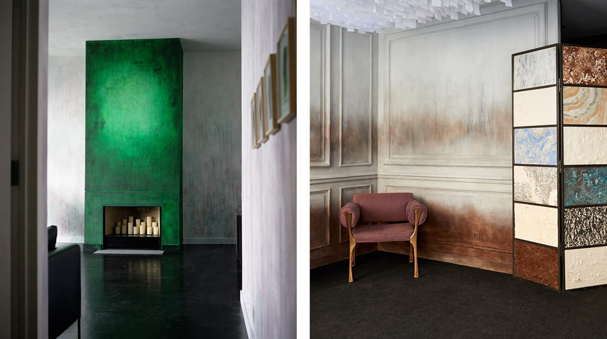 Atelier de Ricou - wall decor - decorative painting - fireplace decoration - green patina - Showroom Par Excellence in New York/ Noho - Charles Jouffre - Upholsterer decorator in Paris - Signatures Singulières