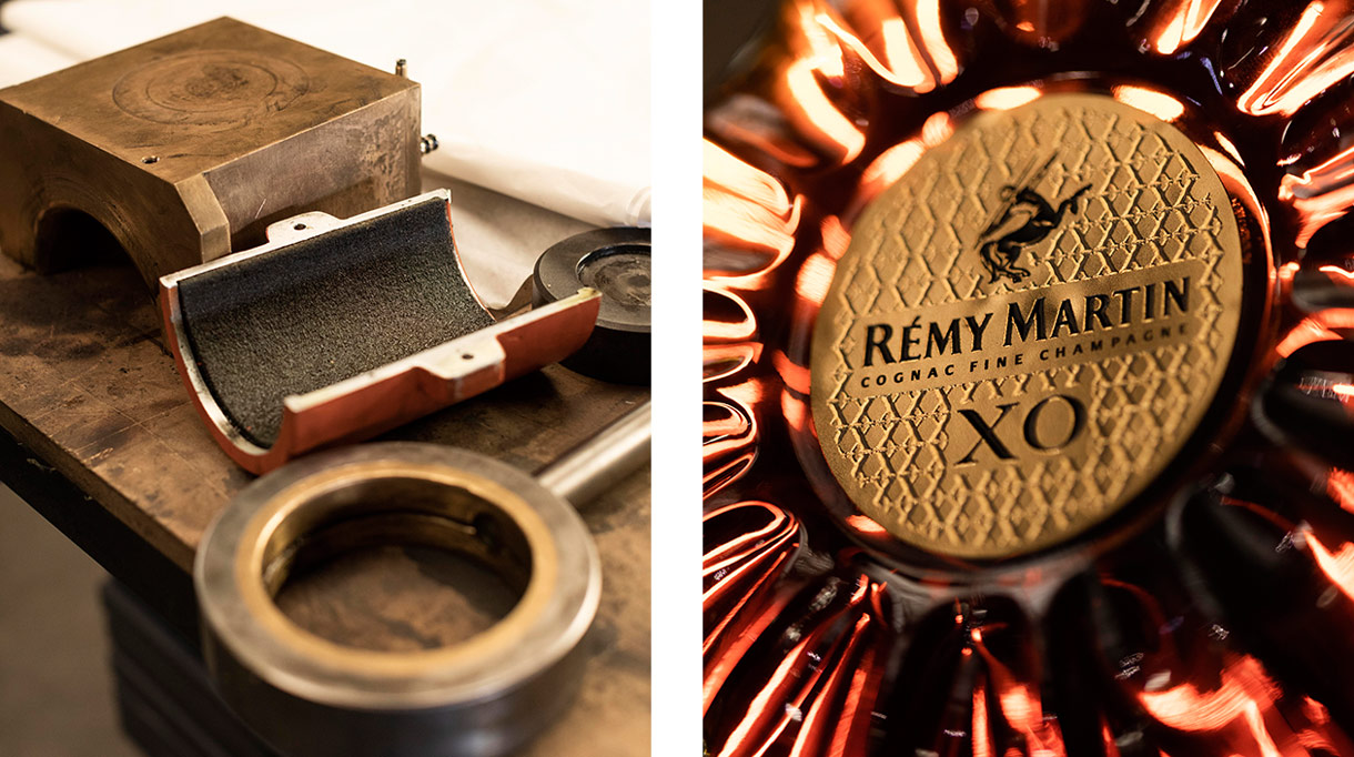 Steaven Richard - Ironwork of art - French craftsman - Creative craftsman - Artistic metalwork - Patinas and textures - Blacksmiths and metalworkers - Steel decorations - Decorating brass - Brass material - Rémi Martin Cognac XO - Brass - Bottle Rémi Martin Cognac XO - EPV company - Signatures Singulières Magazine - The digital magazine of French talent