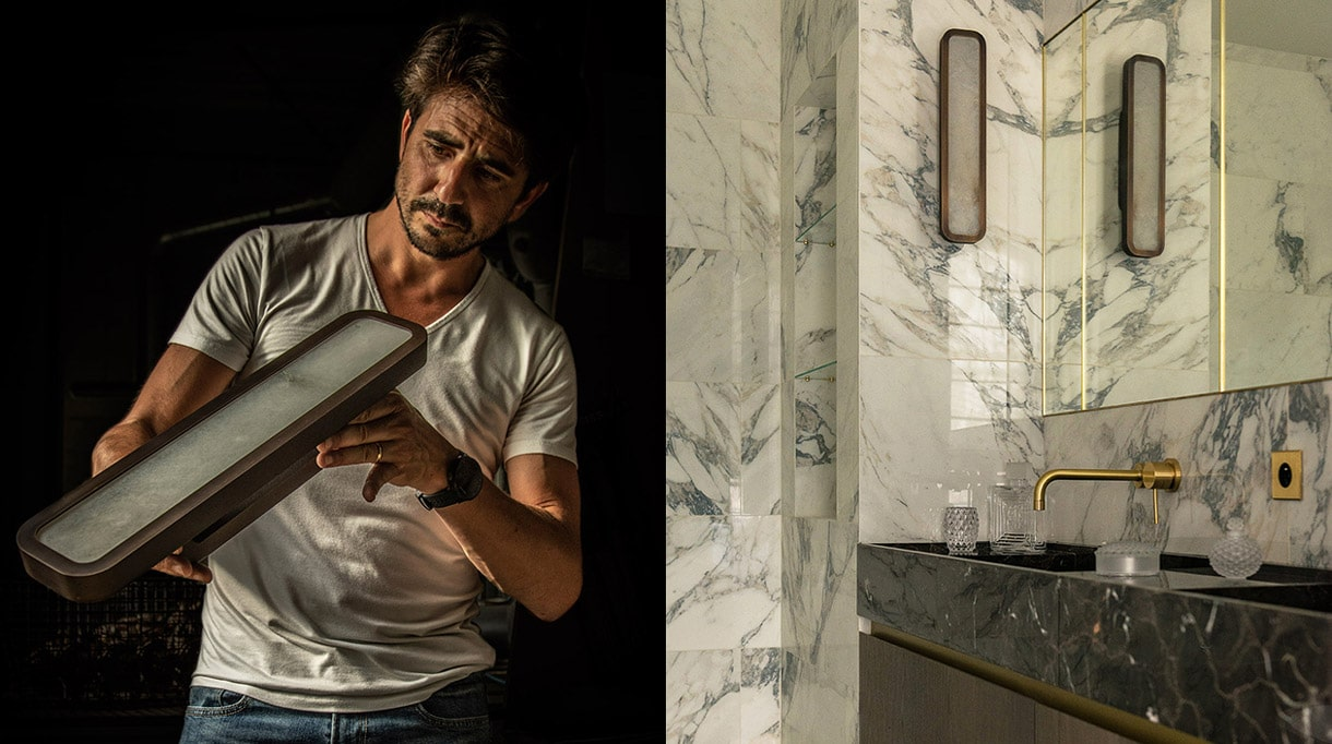 Yves Macheret - Entrelacs - Créations - Fonderie Macheret - French foundry - lighting - Design lighting - wall lamp in bronze and alabaster - Felix Millory - French interior designer - Marble bathroom - French know-how - Signatures Singulières Magazine - The digital magazine of French talent