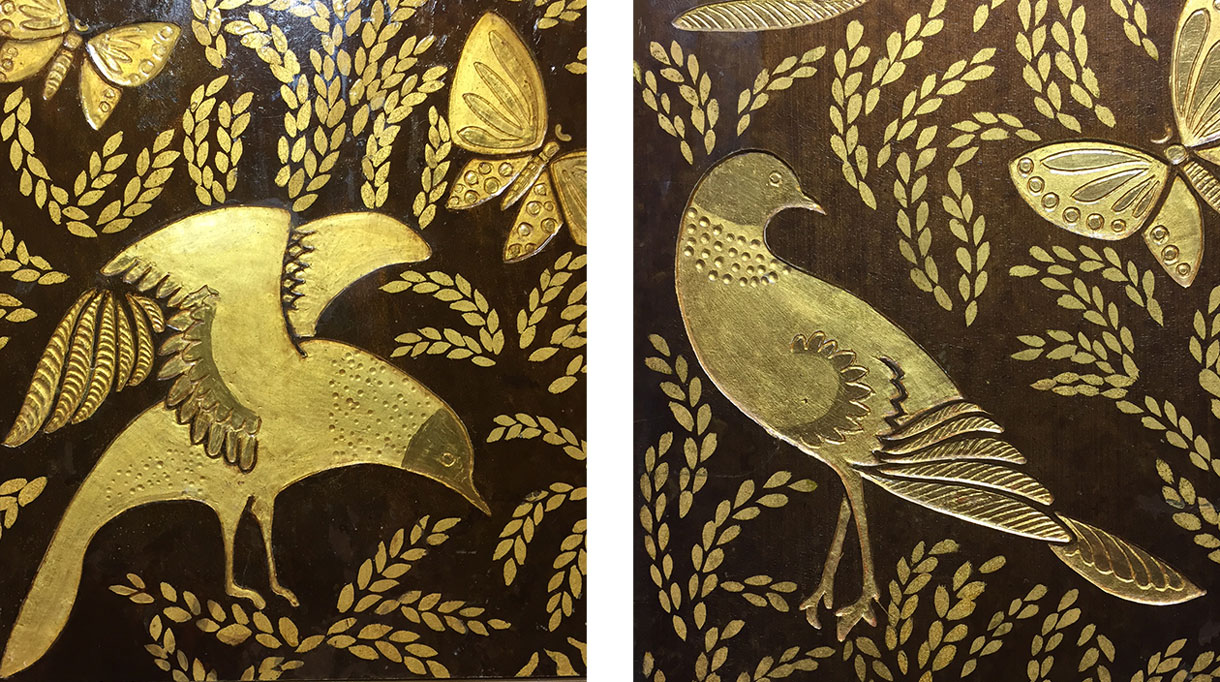 alm deco workshop - mireille herbst - lacquer wall panel - drawing and engraving - gold foil -albert armand rateau -french interior - French know-how - Entreprise du Patrimoine Vivant label - Signatures Singulières Magazine - The digital magazine of French talent
