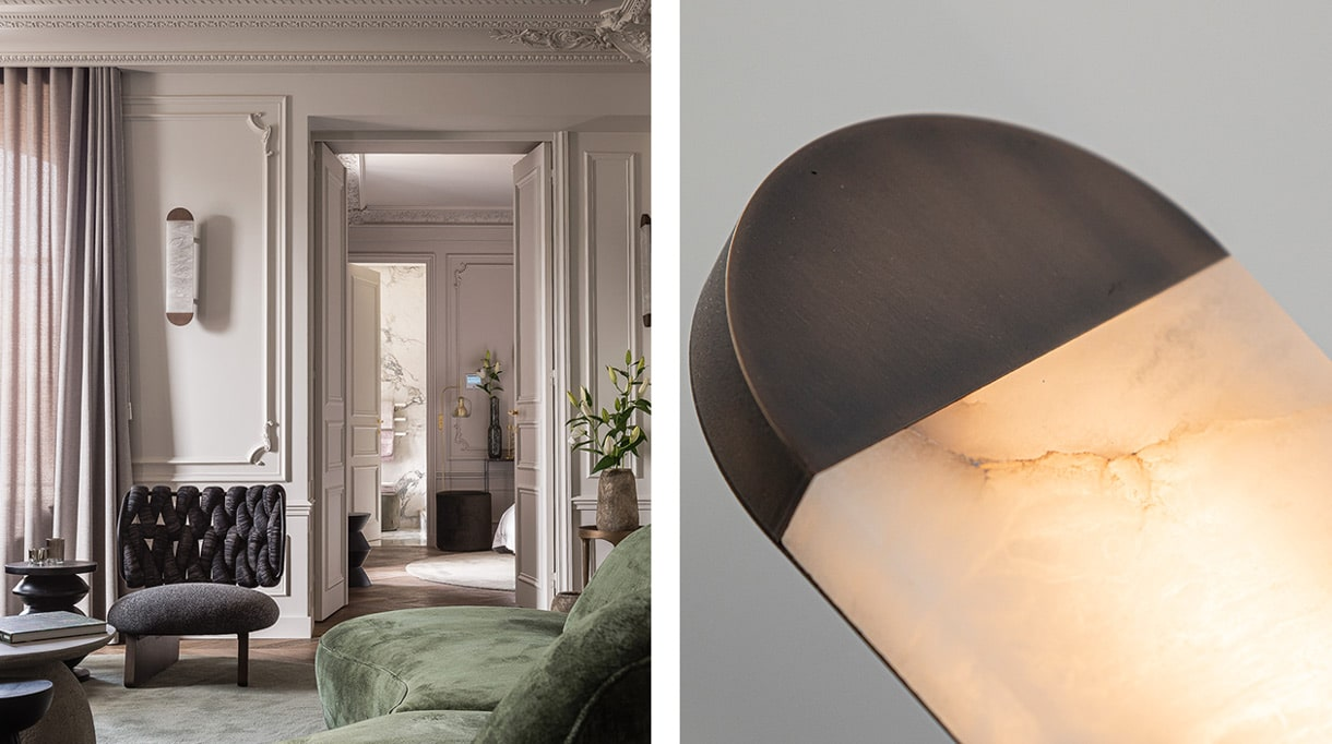 Entrelacs Création - Fonderie Macheret - French foundry - lighting - Design lighting - wall lamp in bronze and alabaster - Felix Millory - French interior designer - Green velvet sofa - French know-how - Signatures Singulières Magazine - The digital magazine of French talent