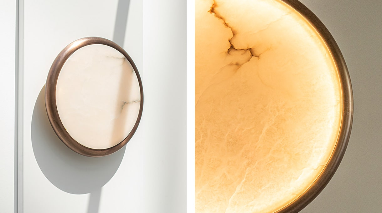 Entrelacs Création - Fonderie Macheret - French foundry - lighting - Design lighting - Sconce in alabaster and patinated bronze - French know-how - Signatures Singulières Magazine - The digital magazine of French talent