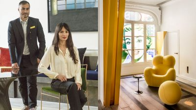 "Oscar Lucien Ono - French interior designer - luxury paris apartment - Karim Ceballos (KJS Architecture) - ""La Mama"" yellow armchair by Gaetano Pesce - Window sticker inspired by the work of Roy Lichtenstein - Signatures Singulières Magazine - The digital magazine of French talent"