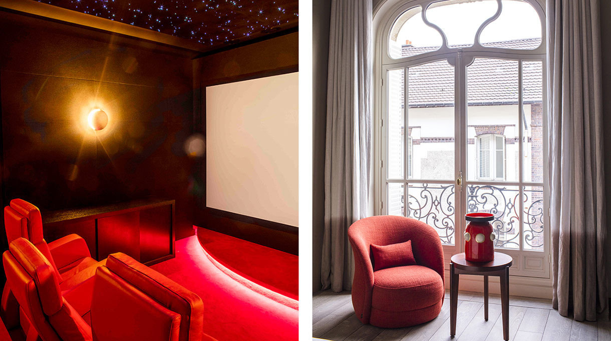 Oscar Lucien Ono - French interior designer - luxury paris apartment - Karim Ceballos (KJS Architecture) - red carpets - red armchair Ferrari - private cinema - Dedar curtain - red armchair - Hamilton conte table and armchair - olivier gagniere vase - Signatures Singulières Magazine - The digital magazine of French talent