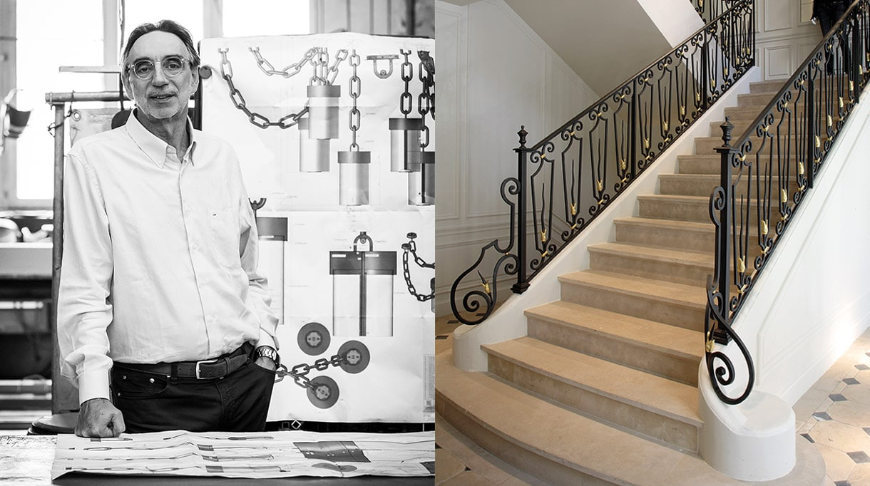 maison Pouenat - Jacques Rayet - french metalwork - creators of art wrought iron craftsman - wrought iron banister - balmain paris showroom - stone stairway - Signatures Singulières - The digital magazine of French talent