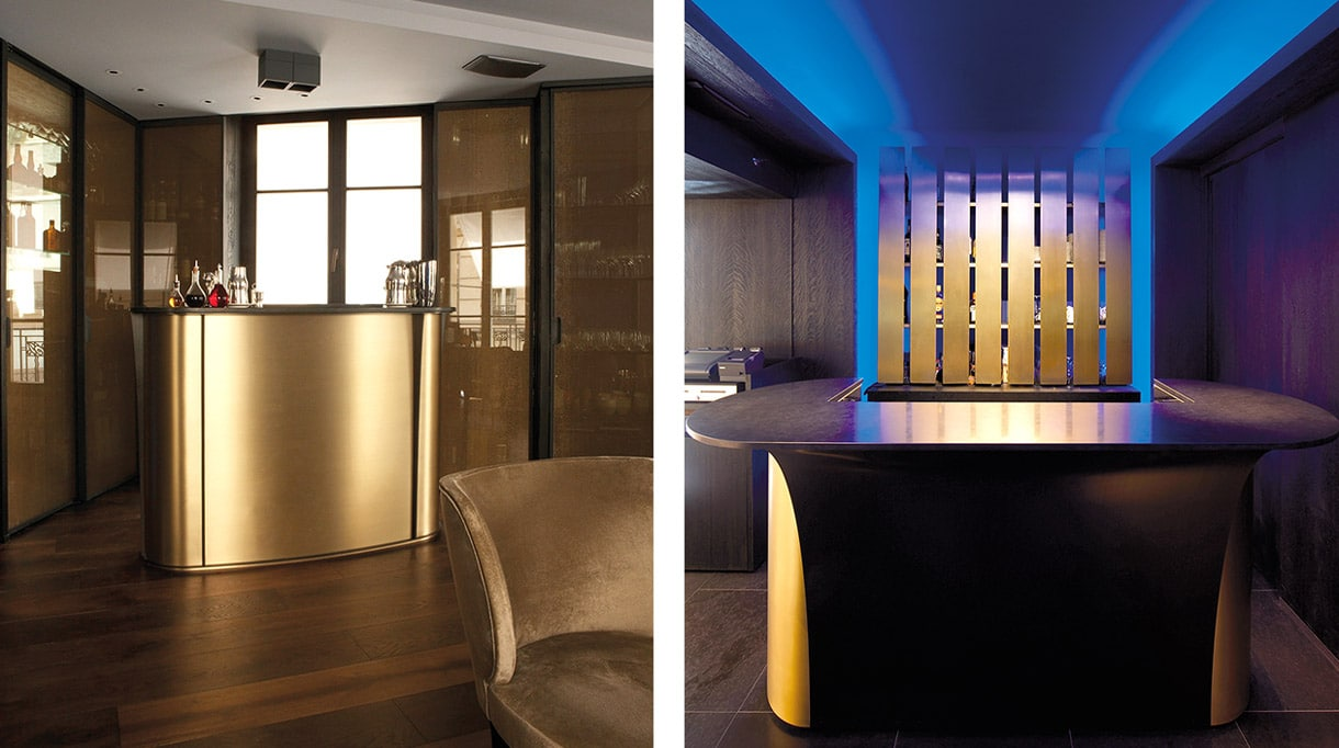 maison Pouenat - french metalwork - creators of art wrought iron craftsman - Bar and bar shelves in patinated brass - francois champsaur - french interior designer - Metropolitan Hotel - signatures Singulières - The digital magazine of French talent