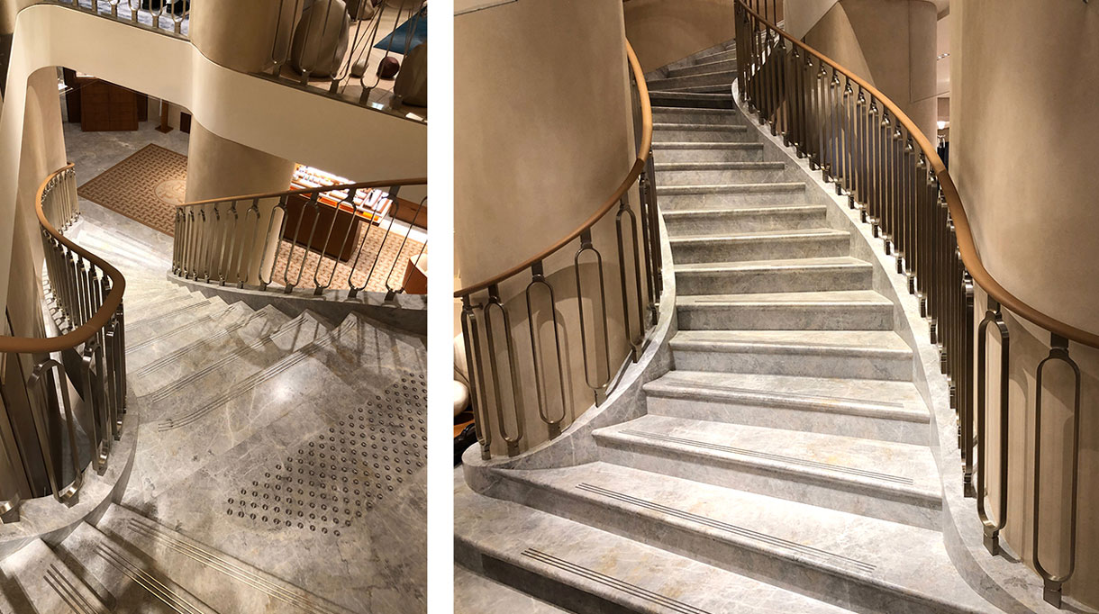 maison Pouenat - french metalwork - creators of art wrought iron craftsman - nickel-plated brass banister for the Hermès boutique on Avenue Georges V in Paris - marble stairs - signatures Singulières - The digital magazine of French talent