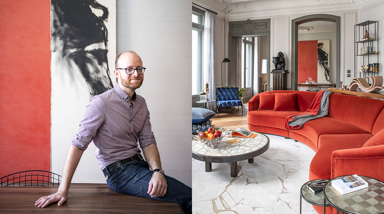 "sebastien caron - french interior designer - parisian apartment with molding - orange sofa - sofa by Donghia at Rubelli - tai ping carpet - Design by Noé Duchaufour-Lawrance - Coffee table ""Soleil"" by Roger Capron at Gallery Deprez-Breheret by Harold Mollet - blue armchaire plumbum - Painting by Gil Seong - door painted in grey - signatures singulieres - le magazine digital des talents francais"
