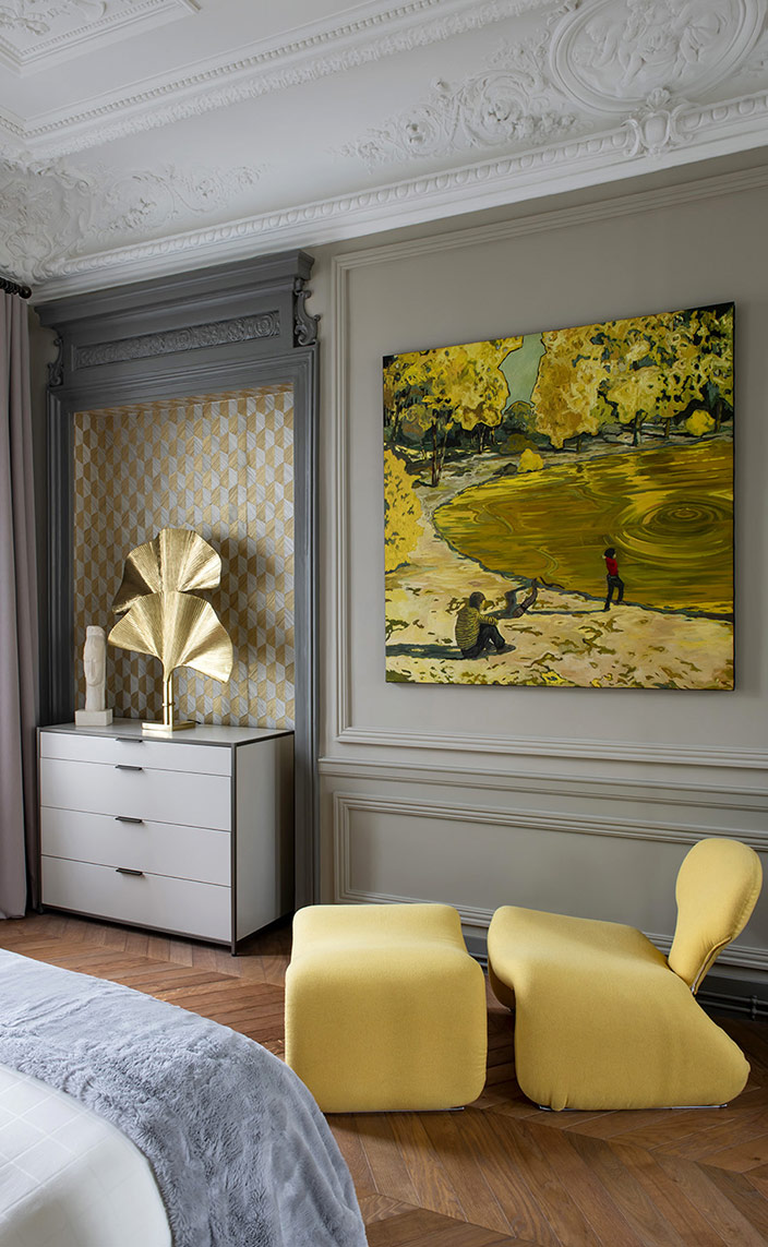 "sebastien caron - french interior designer - parisian apartment with molding - Paintings by Nicolas Canu - Vintage armchair ""Djinn"" by designer Olivier Mourgue - at Off Market by Harold Mollet - Dresser ""Dita"" Ligne Roset - yellow armchair - signatures singulieres - le magazine digital des talents francais"