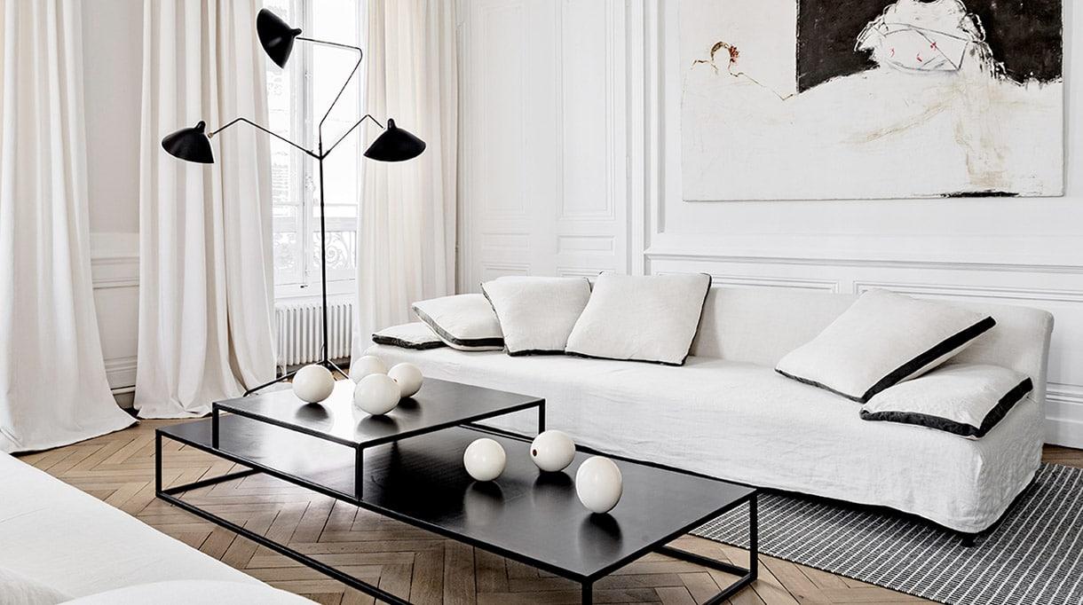 editions serge mouille - black steel three-arm swivel floor lamp - maison hand - signatures singulieres