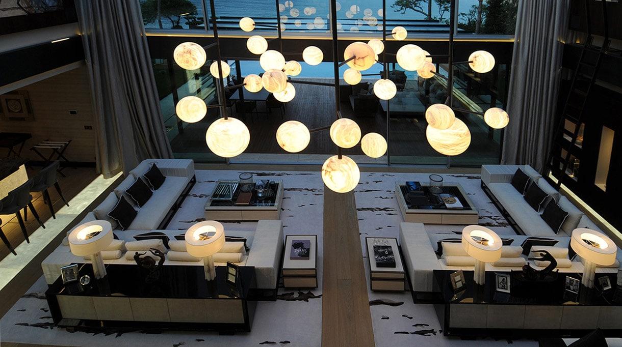 alabaster chandelier by alain ellouz - signatures singulieres magazine