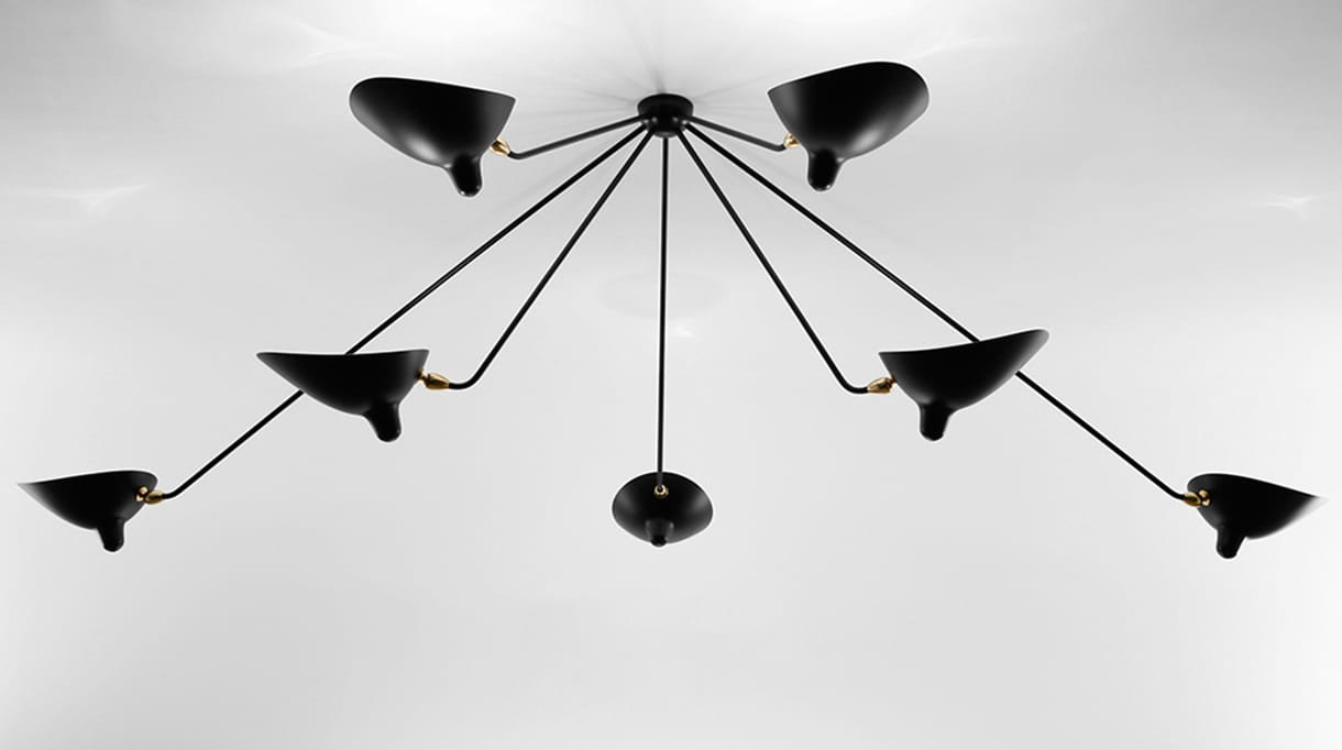 editions serge mouille - black steel ceiling fixture - signatures singulieres magazine