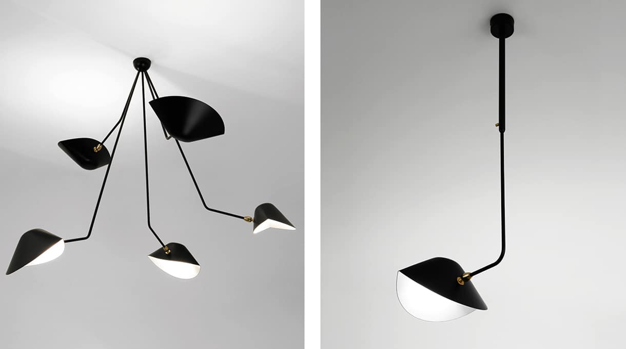editions serge mouille - ceiling lamp with 5 broken arms - signatures singulieres magazine