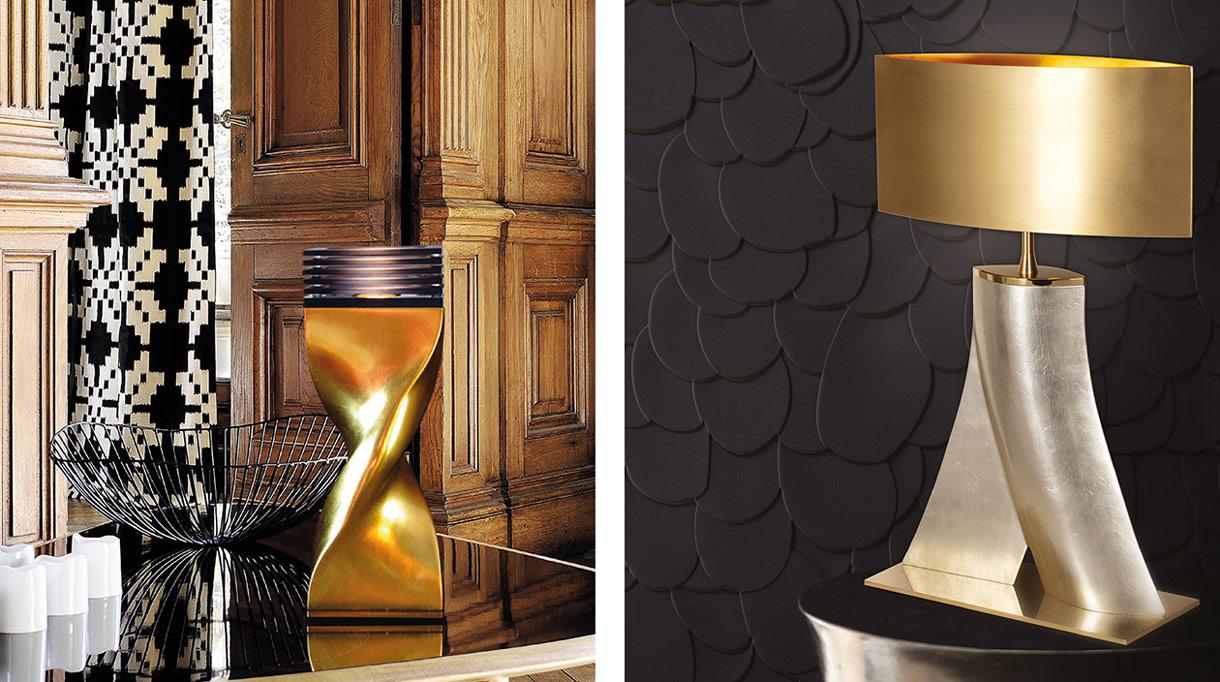 ateliers torsades - lamp in cast aluminum - amp in aluminum with white gold leaf finish - signatures singulieres magazine