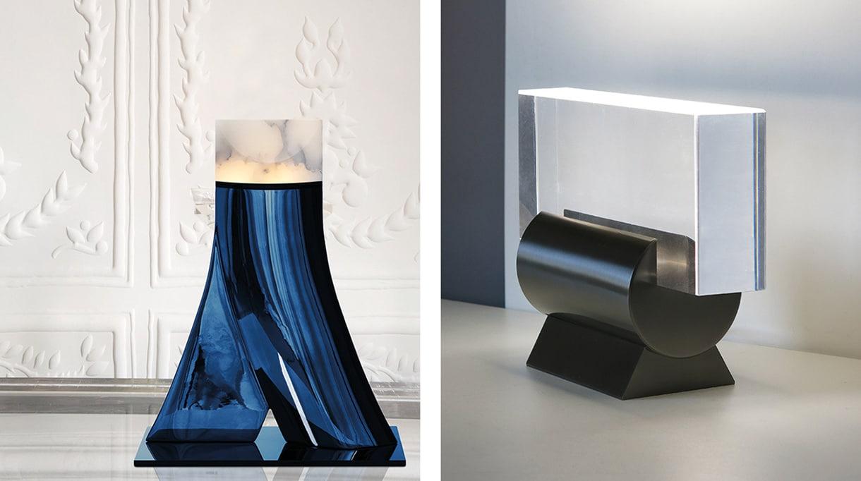french lighting designer - blue lamp in cast aluminum - table lamp in solid bronze - alabaster - signatures singulieres magazine