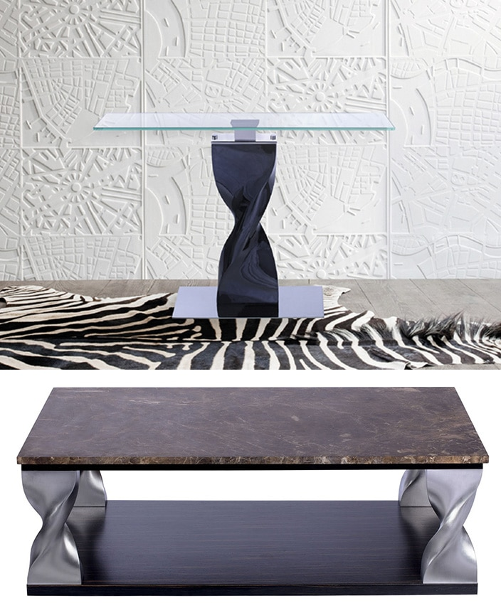 console, tempered glass top, in aluminum - coffee table, abaster top, in aluminum, base in satin black stained oak veneer - zebra skin - signatures singulieres magazine